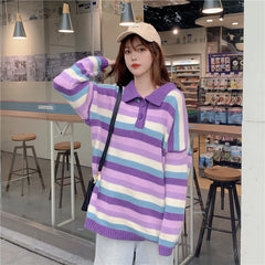 COLOR STRIPED POLO COLLAR SWEATER