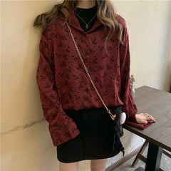 RETRO FLOCKING FLORAL LONG SLEEVE SHIRT
