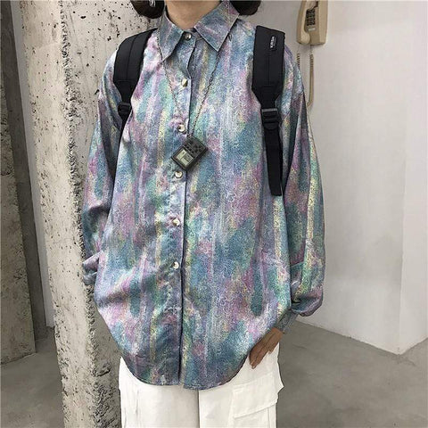 RAINBOW PRINT LONG SLEEVE SHIRT