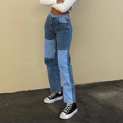 PATCHWORK HIGH WAIST JEANS
