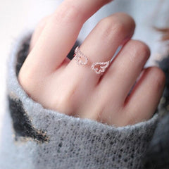 WING RHINESTONE STUDDED OPEN RING