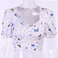 BUTTERFLY PUFF SLEEVE CROP TOP