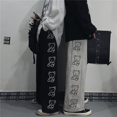 BEAR PRINT LOOSE WIDE LEG PANTS