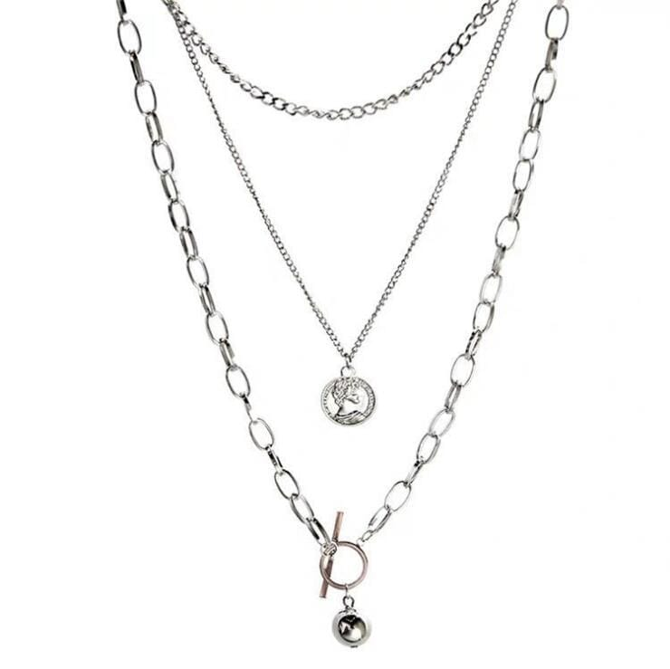 COIN METAL BALL THREE-LAYER NECKLACE