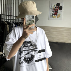 CARTOON GIRL PRINT OVERSIZED T-SHIRT