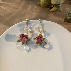 PEARL ETERNAL FLOWER LONG EARRINGS