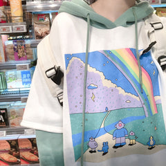 RAINBOW RAIN STITCHING FAKE TWO PIECE HOODIE