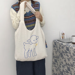 LAMB EMBROIDERED PLUSH SHOULDER BAG