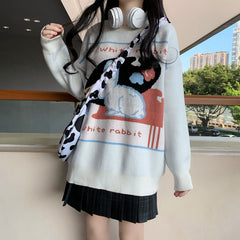 WHITE RABBIT KNIT PULLOVER SWEATER
