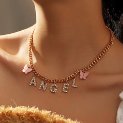 DIAMOND LETTER BUTTERFLY NECKLACE