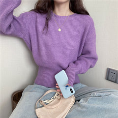 KOREAN COCOON PUFF SLEEVE SHORT KNIT SWEATER