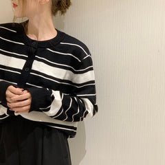 RETRO CONTRAST STRIPED LONG SLEEVE KNIT CARDIGAN