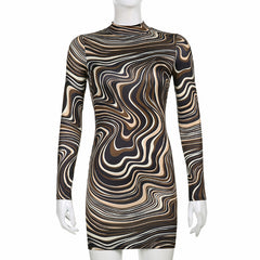 WATER RIPPLE PRINT OPEN BACK LONG SLEEVE HIP DRESS