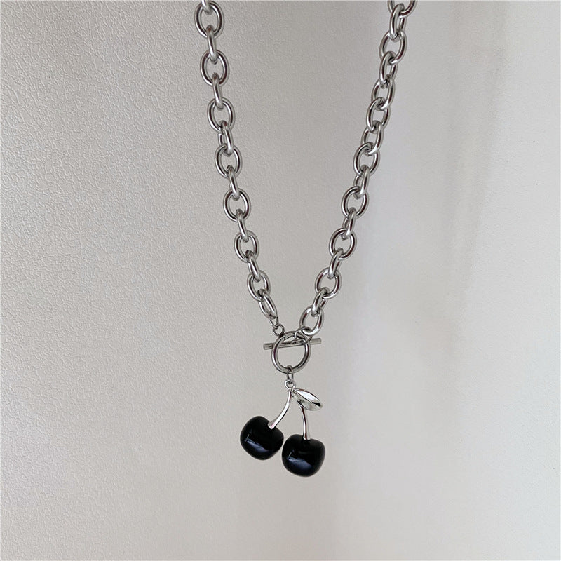 BLACK CHERRY PENDANT THICK CHAIN NECKLACE