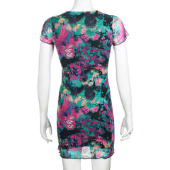 COLORFUL BUTTERFLY PRINT MESH DRESS