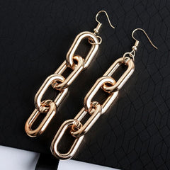 THICK CHAIN LONG EARRINGS