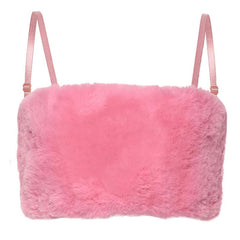 FLUFFY PINK CROP TOP