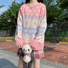 HEART STRAWBERRY POLKA DOT PULLOVER SWEATER