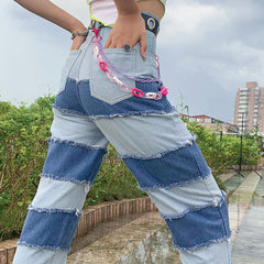 PATCHWORK DENIM JEANS