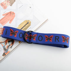 BUTTERFLY PRINT CANVAS BELT