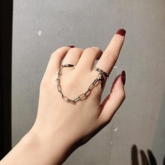 ALLOY CROSS & CHAINED OPEN RING