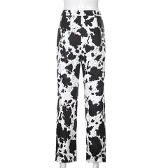 COW SPECKLE STRAIGHT PANTS