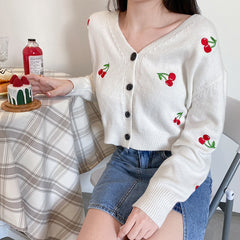 CHERRY EMBROIDERED KNIT CARDIGAN
