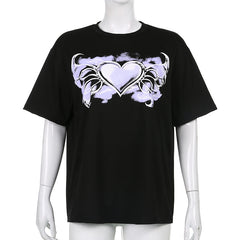 HEART WINGS PRINT SHORT SLEEVE T-SHIRT