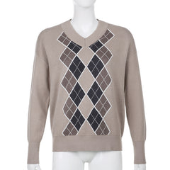 DIAMOND CHECK V-NECK KNIT PULLOVER SWEATER