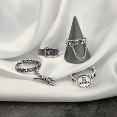 VINTAGE BUNNY CHAIN RINGS(4 PCS)
