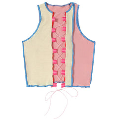 FASHION CONTRAST LACE-UP CUT OUT VEST