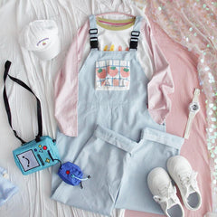CREAM STRAWBERRY PRINT OVERALLS