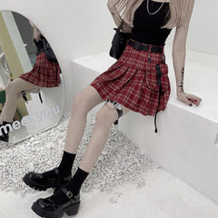 JK RED PLAID PLEATED SKIRT WITH BELT BAG