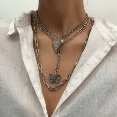 BUTTERFLY HEART PENDANT MULTI-LAYER NECKLACE