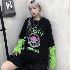HARAJUKU FLAME PLANET FAKE TWO-PIECE T-SHIRT