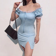 BLUE SQUARE COLLAR BUBBLE SLEEVE SPLIT DRESS
