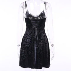 GOTHIC PATTERN LACE-UP DRESS