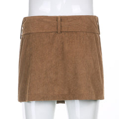 CORDUROY MINI SKIRT WITH BELT
