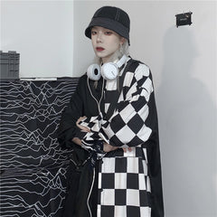 B&W CHECKERBOARD LONG SLEEVE SHIRT