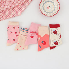 SWEET STRAWBERRY SOCKS (5 pairs)