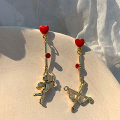 CUPID ANGEL ARROW ASYMMETRIC EARRINGS