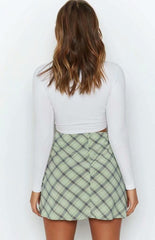 LIGHT GREEN CHECK SPLIT SKIRT