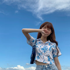 BLUE SKY AND WHITE CLOUDS CROP SHIRT