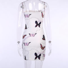 BUTTERFLY LIGHTNING PRINT DRAWSTRING DRESS