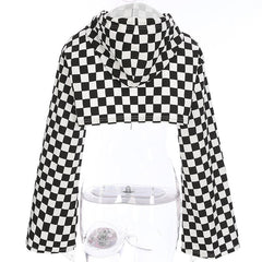 FLARE SLEEVES CHECKERBOARD HOODIE