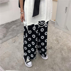 DAISY PRINT WIDE LEG PANTS