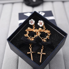 BAROQUE GOLD CROSS HEART EARRINGS