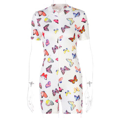 BUTTERFLY PRINT ZIPPER SHORT SLEEVE JUMPSUIT