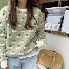 PLUSH CHERRY KNIT PULLOVER SWEATER
