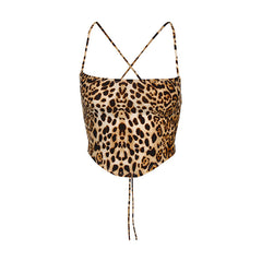 LEOPARD BACKLESS CROSS HALTER VEST